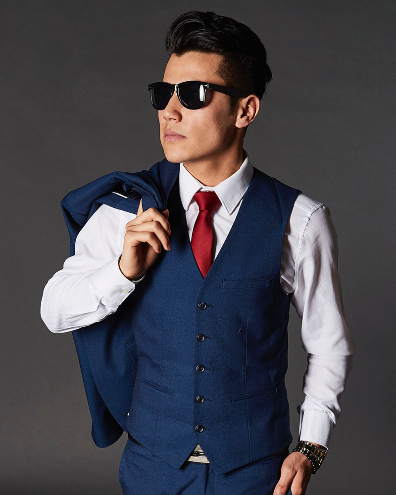 Plain Blue Two-Button Suit